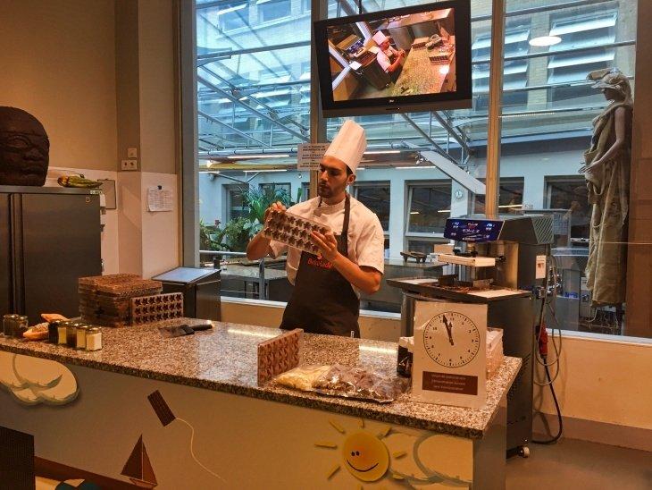 choco story bruges chocolate demonstation roseanna sunley travel blog