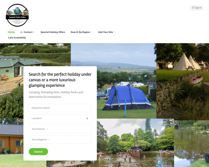 campsite finder online booking website