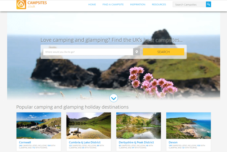 campsites booking website