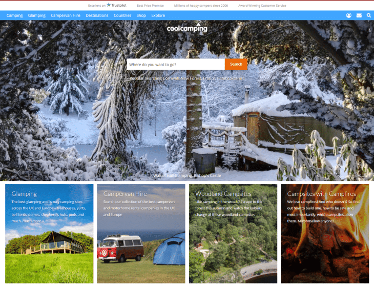 cool camping booking website